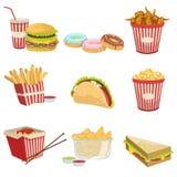 Ρεαλιστικές λεπτομερείς απεικονίσεις στοιχείων επιλογών τροφίμων οδών Στοκ Φωτογραφία