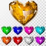 Ρεαλιστικές καρδιές διαμαντιών καθορισμένες Στοκ Φωτογραφία