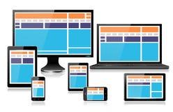 Ρεαλιστικές κινητές συσκευές υπολογιστών που παρουσιάζουν πλήρως απαντητικό πορτοκάλι σχεδίου Ιστού ελεύθερη απεικόνιση δικαιώματος