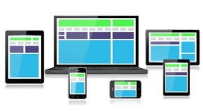 Ρεαλιστικές κινητές συσκευές υπολογιστών που παρουσιάζουν πλήρως απαντητικό σχέδιο Ιστού πράσινο διανυσματική απεικόνιση
