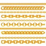 Ρεαλιστικές χρυσές διανυσματικές βούρτσες αλυσίδων περιδεραίων καθορισμένες ελεύθερη απεικόνιση δικαιώματος