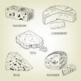 Ρεαλιστική γραφική συλλογή τυριών επίσης corel σύρετε το διάνυσμα απεικόνισης Στοκ Φωτογραφία