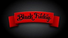 Ρεαλιστική κόκκινη κορδέλλα για τη μαύρη πώληση Παρασκευής Στοκ Φωτογραφία