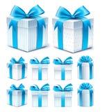 Ρεαλιστική τρισδιάστατη συλλογή του ζωηρόχρωμου μπλε κιβωτίου δώρων σχεδίων Στοκ Φωτογραφία