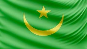 Ρεαλιστική όμορφη σημαία της Μαυριτανίας 4k φιλμ μικρού μήκους
