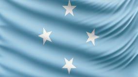 Ρεαλιστική όμορφη σημαία της Μικρονησίας 4k απόθεμα βίντεο