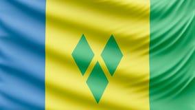 Ρεαλιστική όμορφη σημαία του Άγιου Βικεντίου και Γρεναδίνες 4k απεικόνιση αποθεμάτων