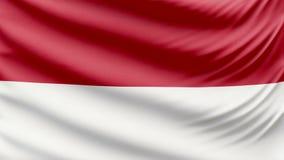 Ρεαλιστική όμορφη σημαία του Μονακό 4k απόθεμα βίντεο