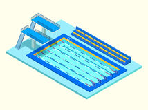 Ρεαλιστική isometric αθλητική λίμνη Δημιουργική τρισδιάστατη διανυσματική απεικόνιση Στοκ Εικόνα