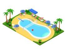 Ρεαλιστική isometric υπαίθρια πισίνα Δημιουργική τρισδιάστατη διανυσματική απεικόνιση Στοκ Εικόνες