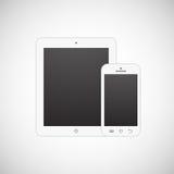 Ρεαλιστικός άσπρος υπολογιστής ταμπλετών και κινητό τηλέφωνο Στοκ Εικόνες