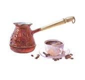 Ρεαλιστικός καφές Watercolor ibrik με το φλυτζάνι καφέ που απομονώνεται Στοκ Εικόνες
