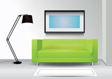 Ρεαλιστικός πράσινος καναπές με το λαμπτήρα πατωμάτων, τάπητας και photoframe στον τοίχο εσωτερικό διάνυσμα απεικόνισης 10 eps Στοκ εικόνα με δικαίωμα ελεύθερης χρήσης