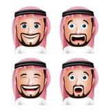 Ρεαλιστικός Σαουδάραβας - αραβικό κεφάλι ατόμων με τις διαφορετικές εκφράσεις του προσώπου απεικόνιση αποθεμάτων