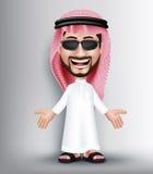 Ρεαλιστικός χαμογελώντας όμορφος Σαουδάραβας - αραβικός χαρακτήρας ατόμων Στοκ Εικόνες