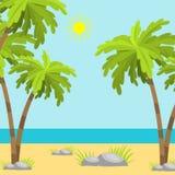 Ρεαλιστικό βοηθητικό διανυσματικό ταξίδι ηλιοφάνειας απεικόνισης ακροθαλασσιών παραλιών θερινού χρόνου ελεύθερη απεικόνιση δικαιώματος