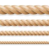 Ρεαλιστικό διάνυσμα σχοινιών Διαφορετικό σύνολο σχοινιών πάχους που απομονώνεται στο άσπρο υπόβαθρο Απεικόνιση των στριμμένων ναυ Στοκ φωτογραφίες με δικαίωμα ελεύθερης χρήσης