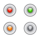 Ρεαλιστικό κουμπί μετάλλων με την κυκλική επεξεργασία Στοκ Εικόνες