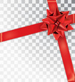 Ρεαλιστικό κόκκινο σατέν τόξων σε ένα διαφανές υπόβαθρο απεικόνιση αποθεμάτων