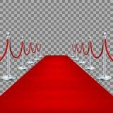 Ρεαλιστικό κόκκινο χαλί μεταξύ των εμποδίων σχοινιών 10 eps διανυσματική απεικόνιση