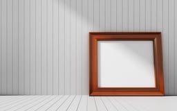 Ρεαλιστικό πλαίσιο εικόνων στο ξύλινο υπόβαθρο Στοκ Φωτογραφία