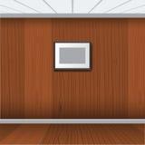 Ρεαλιστικό πλαίσιο φωτογραφιών με το ξύλινο εσωτερικό δωμάτιο επίσης corel σύρετε το διάνυσμα απεικόνισης Στοκ Φωτογραφίες