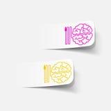 Ρεαλιστικό στοιχείο σχεδίου: εγκέφαλος -εγκέφαλος-usb, βούλωμα Στοκ Εικόνα