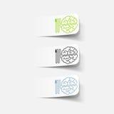 Ρεαλιστικό στοιχείο σχεδίου: εγκέφαλος -εγκέφαλος-usb, βούλωμα Στοκ Φωτογραφία