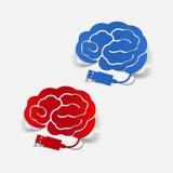 Ρεαλιστικό στοιχείο σχεδίου: εγκέφαλος -εγκέφαλος-usb, βούλωμα Στοκ Φωτογραφίες