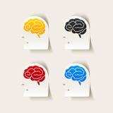 Ρεαλιστικό στοιχείο σχεδίου: επικεφαλής εγκέφαλος προσώπου Στοκ εικόνα με δικαίωμα ελεύθερης χρήσης