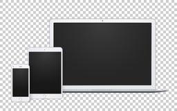Ρεαλιστικό σύνολο συσκευών, ανοικτού lap-top, τηλεφωνικού προτύπου και χλεύης μαξιλαριών επάνω με την κενή οθόνη ελεύθερη απεικόνιση δικαιώματος