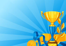 Ρεαλιστικό χρυσό φλυτζάνι, κλάδος δαφνών και μετάλλιο Υπόβαθρο με τη θέση για το βραβείο κειμένων για τον αθλητισμό ή τους εταιρι απεικόνιση αποθεμάτων