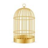 Ρεαλιστικό χρυσό Birdcage στο λευκό απεικόνιση Στοκ εικόνες με δικαίωμα ελεύθερης χρήσης