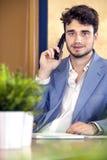 Ρεσεψιονίστ που χρησιμοποιεί το ασύρματο τηλέφωνο Στοκ Φωτογραφίες