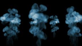 Ρεύματα καπνού σε σε αργή κίνηση Πολλές ροές καπνού που απομονώνονται στο μαύρο υπόβαθρο με αναδρομικά φωτισμένος και έτοιμος για απόθεμα βίντεο
