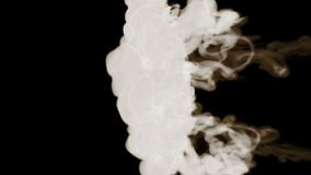 Ρεύματα καπνού σε σε αργή κίνηση που απομονώνεται στο μαύρο υπόβαθρο με αναδρομικά φωτισμένος και έτοιμος για για τα οπτικά αποτε φιλμ μικρού μήκους