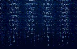 Ρεύμα δυαδικού κώδικα Κώδικες ψηφιακών στοιχείων, κωδικοποίηση χάκερ και crypto ροή αριθμών μητρών Ψηφιακά μπλε περίληψη οθόνης απεικόνιση αποθεμάτων
