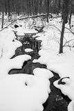 Ρεύμα που τρέχει μέσω του χιονιού μαύρος & άσπρος Στοκ φωτογραφία με δικαίωμα ελεύθερης χρήσης