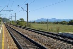 ρηχή διαδρομή σιδηροδρόμων πεδίων βάθους Στοκ εικόνα με δικαίωμα ελεύθερης χρήσης