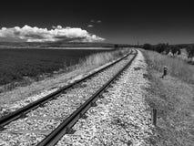 ρηχή διαδρομή σιδηροδρόμων πεδίων βάθους Στοκ Εικόνες