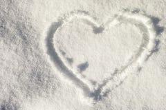 ρηχό χιόνι καρδιών πεδίων βάθους στοκ εικόνα