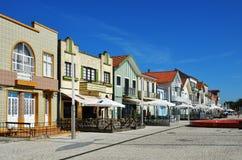 Ριγωτά χρωματισμένα σπίτια, Nova πλευρών, $μπέιρα Litoral, Πορτογαλία, ΕΥΡ Στοκ φωτογραφία με δικαίωμα ελεύθερης χρήσης