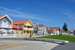 Ριγωτά χρωματισμένα σπίτια, Nova πλευρών, $μπέιρα Litoral, Πορτογαλία, ΕΥΡ Στοκ εικόνα με δικαίωμα ελεύθερης χρήσης