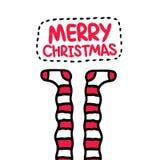 Ριγωτές κάλτσες Χριστουγέννων. Κάρτα διακοπών. Στοκ φωτογραφία με δικαίωμα ελεύθερης χρήσης