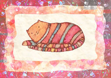 Ριγωτή γάτα, watercolor απεικόνιση αποθεμάτων