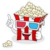 Ριγωτή Popcorn τσάντα με τα τρισδιάστατα γυαλιά Στοκ Εικόνα