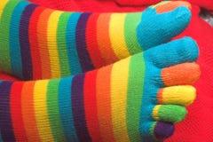 Ριγωτός πλέξτε τις κάλτσες Στοκ Εικόνες