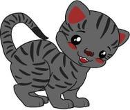 ριγωτό διάνυσμα απεικόνισης γατών κινούμενων σχεδίων Στοκ Εικόνες