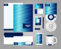 Ριγωτό μπλε εταιρικό πρότυπο ταυτότητας Στοκ εικόνες με δικαίωμα ελεύθερης χρήσης
