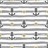Ριγωτό ναυτικό σχεδίων Άγκυρες και καρδιές απεικόνιση αποθεμάτων